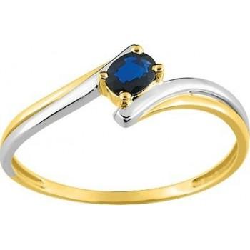 Bague JOHANNA or jaune or blanc 750 / °° saphir bleu 0,226 carat