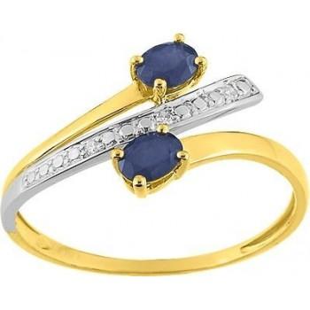 Bague BLISS or jaune 750 /°° diamants saphirs bleus