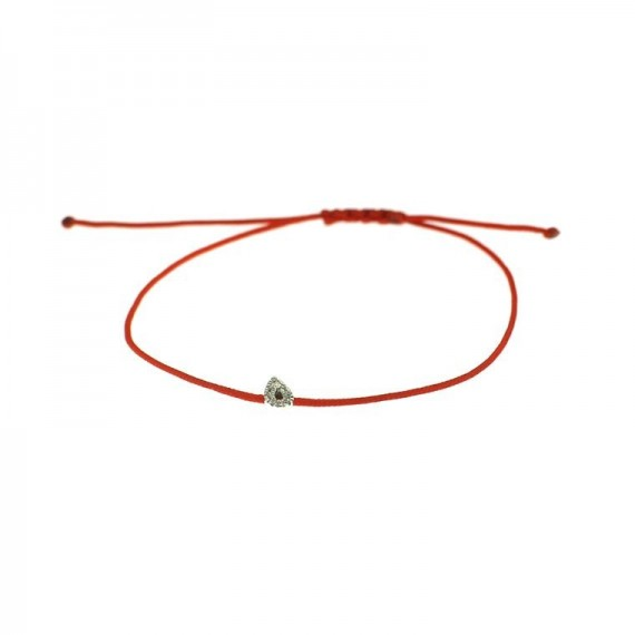 Bracelet DEMETER  motif or blanc 750 /°° cordon rouge diamants 0.02 carat