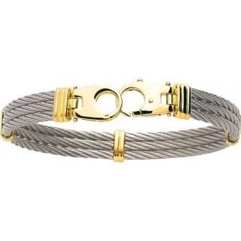Bracelet CORSAIRE or jaune 750 /°° câble acier