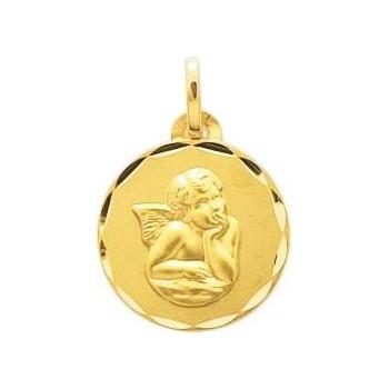 Médaille JEAN Ange or jaune 750 /°° diamètre 14 mm