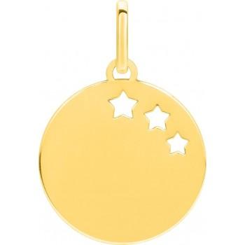 Pendentif ETOILES or jaune 750 /°° jeton motif étoiles