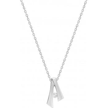 Collier LAURENS or blanc 750 /°° diamant 0,04 carat